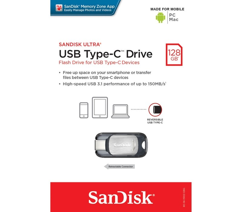Image 1 of SanDisk CZ450 Ultra USB Type-C 128GB Flash Drive, Metal, Type C Reversible, Super-Thin Retractable SDCZ450-128G-G46
