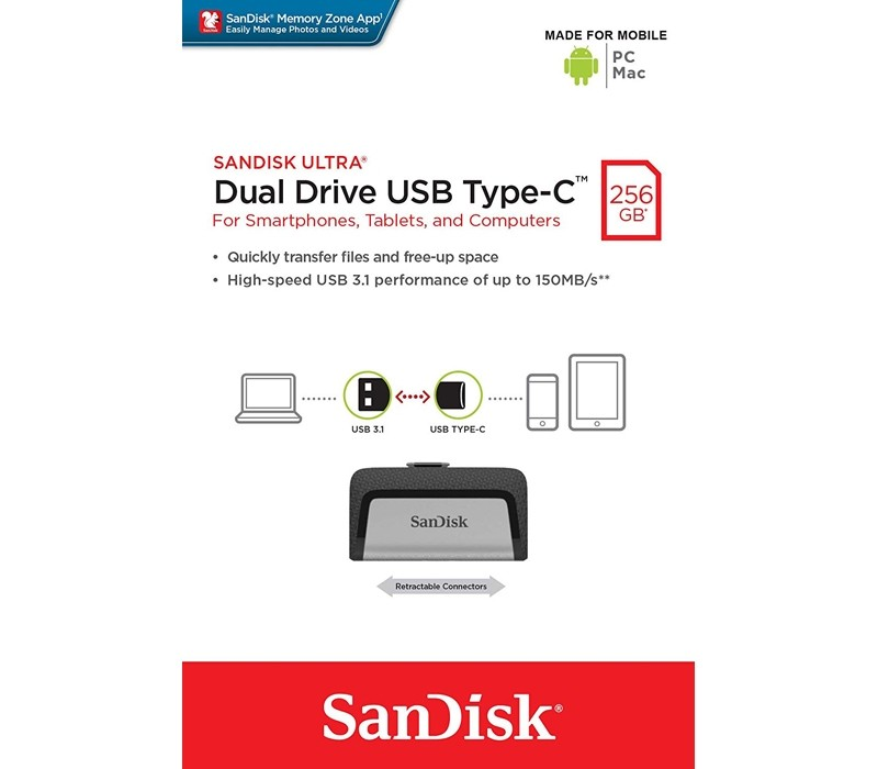 Image 1 of SanDisk 256GB Ultra Dual Drive USB Type-C SDDDC2-256G, Easily Transfer Files Between Smartphones & PC FUSSAN256GSDDDC2