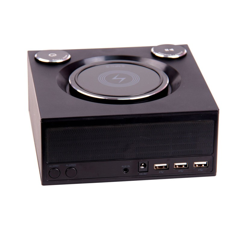 Image 1 of Laser Qi Wireless Charging Alarm Clock With Bluetooth Speaker Spk-qc002 SPK-QC002