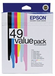 Image 1 of Epson T049190VP T049 VALUE PACK, 6 INKS T0491 T0492 T0493 T0494 T0495 T0496 C13T049190VP