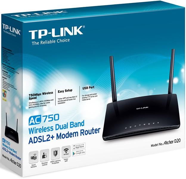 Image 1 of TP-LINK Archer D20 - AC750 Wireless Dual Band ADSL2+ Modem Router Archer D20 Archer D20