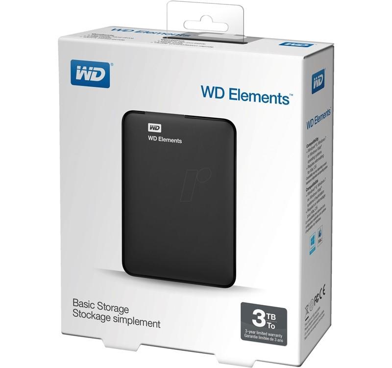 """Image 1 of Western Digital Elements 3TB Portable 2.5"""" External USB3.0 Hard Drive WDBU6Y0030BBK WDBU6Y0030BBK-MS"""