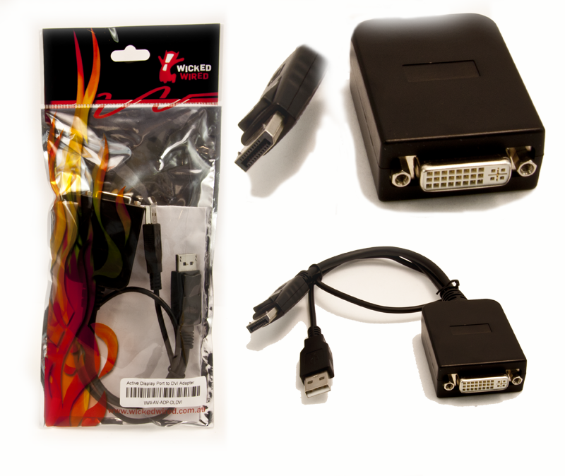 Image 1 of Wicked Wired Active Displayport To Dvi-d Adapter Cable Ww-av-adp-dldvi 88591 WW-AV-ADP-DLDVI