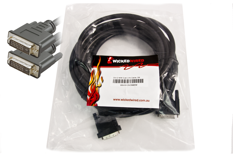 Image 1 of Wicked Wired 5m Dvi-d Male To Dvi-d Male Dual Link Audio Visual Cable Ww-av-dvidmm5m WW-AV-DVIDMM5M