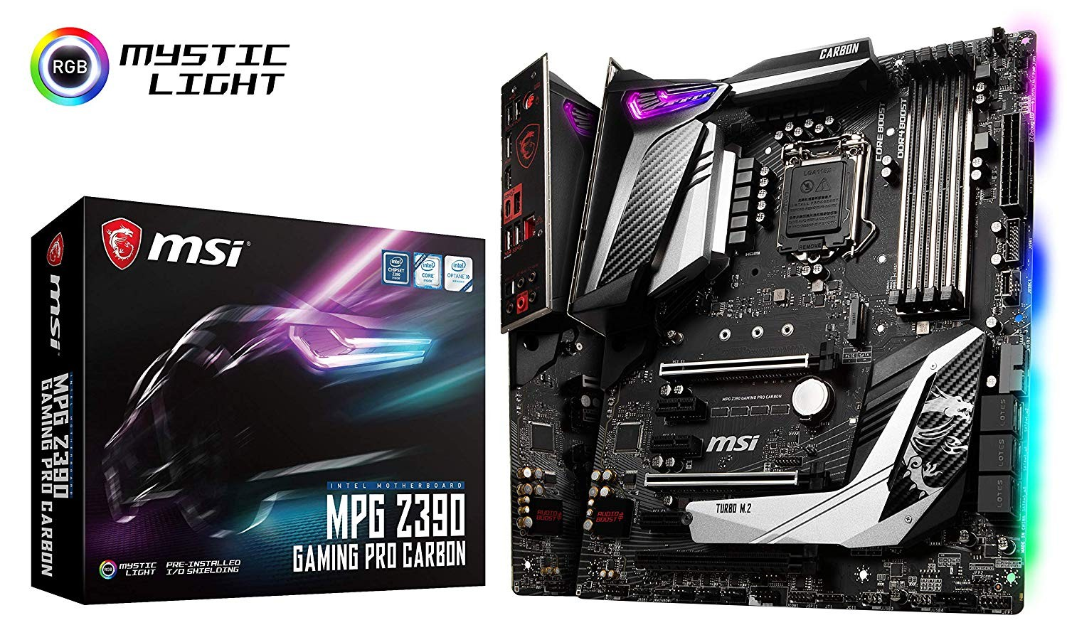 Image 1 of Msi Intel Z390 Socket 1151 Atx Gaming Motherboard Mystic Light M.2 Shield Frozr Audio Boost Z390 GAMING PRO CARBON