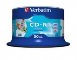 Verbatim Cd-r 80min 50pk Wht Inkjet 52x 41908
