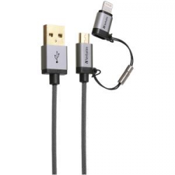 Verbatim Metallic Charge&sync 2-in1 Micro+lightning - Grey 120cm 64828