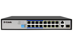 D-Link 18-Port PoE Switch with 16 Long Reach 250m PoE Ports and 2 Gigabit Uplink Ports (DES-F1018P-E)