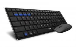 Rapoo 9300M Keyboard & Mouse: Bluetooth & 2.4G Wireless Multi-mode - 1300DPI Spill-Resistant 5.6mm Ultra-Slim Black (9300M)