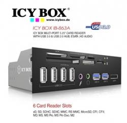 """Icy Box 5.25"""" Multi-port Card Reader With Usb 3.0, Usb 2.0 Hub, Esata, Hd Audio Acricy863a525"""