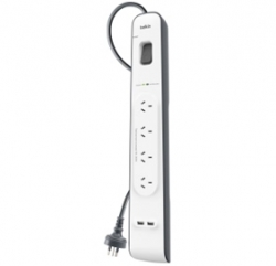 Belkin 4 Outlet With 2m Cord With 2 Usb Ports (2.4a) Bsv401au2m