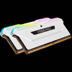 CORSAIR Vengeance RGB Pro DDR4, 3200MHz 32GB 2x16GB Dimm, Unbuffered, 16-20-20-38, XMP 2.0, white Heatspreader, RGB LED, Black PCB, 1.35V (CMW32GX4M2E3200C16W)