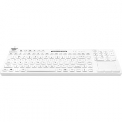 HYGIENIC WHITE USB FULL-SIZE WATERPROOF SILICONE MEDICAL GRADE KEYBOARD W/INTEGRATED TOUCHPAD RCTLP/BKL/W5