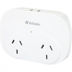 Verbatim DUAL USB SURGE PROTECTED WITH DOUBLE ADAPTOR - WHITE 66595