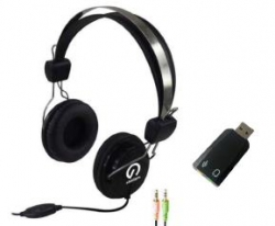 Shintaro Stereo Headset with Inline Microphone plus USB Audio Adapter with 3.5mm Headphone and Microphone Jack SH105M-120-KIT