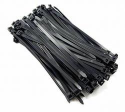 CABAC 8Ware 200mm x 2.5mm (4') Bag of 100 Pack UV Resistant Wide Nylon Zip Cable Ties Black ~CT196BK-LD (8WCT196BK)