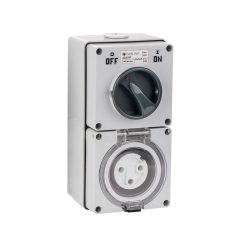 4C   Combination Switched socket 3 Round Pin IP66 250V 20A (040.000.0214)