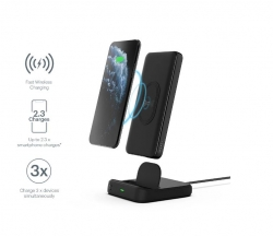 CYGNETT DUO 10K WIRELESS POWERBANK & CHARGING DOCK - BLACK - 18W FAST CHARGING FOR MOBILE DEVICES, Dual charging (USB-C and USB-A) (CY3038PBCHE)