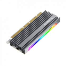 Simplecom EC415 NVMe M.2 SSD to PCIe x4 x8 x16 Expansion Card with Aluminium Heat Sink and RGB Light