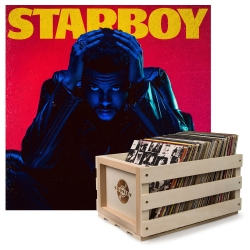 Crosley Record Storage Crate & THE WEEKND STARBOY - DOUBLE VINYL ALBUM Bundle UM-5722751-B