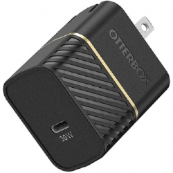 OtterBox 30W USB-C Fast Charge Wall Charger - Black Shimmer - Small & fast, works with Apple, Samsung, LG, Google 78-80485