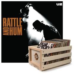 Crosley Record Storage Crate & U2 RATTLE AND HUM - VINYL ALBUM Bundle UM-8422991-B