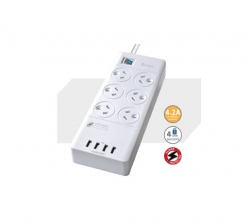 Sansai 6 Outlets & 4 USB Outlets Surge Protected Powerboard (PAD-4066E)