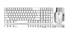 RAPOO X1800S 2.4GHz Wireless Optical Keyboard Mouse Combo Black - 1000DPI Nano Receiver 12m Battery (White) X1800S-WHITE