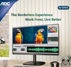 AOC 23.8' 24B2XHM Adaptive Sync 75hz, Low Blue, Flicker Free, Ultra Slim Monitor. VGA, HDMI 1.4. VESA 100 x 100mm. Office, Business, Home Monitor