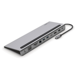 Belkin USB-C 11-in-1 Multiport Dock Silver, Supplies multimedia and Ethernet ports that have been eliminated from the latest Apple and PC laptops INC004btSGY
