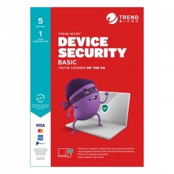 Trend Micro Device Security BASIC (1-5 Devices) 1Yr Subscription Retail Mini Box (Replaces Maximum Security) TICEWWMFXSBYEM