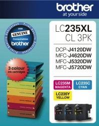 Brother LC-235XL Colour Value Pack,1X Cyan, 1XMagenta, 1XYellow LC-235XLCL-3PKS