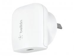 BELKIN 1 PORT WALL CHARGER, 20W USB-C (1) PD, WHITE, 2YR WCA003AUWH