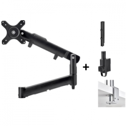 Atdec DUAL DYNAMIC MONITOR ARM DESK MOUNT - BLACK - UP TO 32IN - BUILT-IN ARM ROTATION LIMITER AWMS-2-D40-F-B
