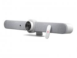 LOGITECH RALLY BAR ALL IN ONE 4K ULTRA HD VIDEO BAR,BUILT IN SPEAKER & MIC,WHITE - 2YR WTY 960-001327