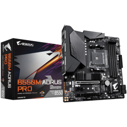 Gigabyte AMD B550 AORUS Motherboard with Digital VRM Solution, Enlarged Surface Heatsinks, PCIe 4.0 x16 Slot, Dual PCIe 4.0/3.0 x4 M.2 with Thermal Guard (M/B B550M AORUS PRO 1.0)