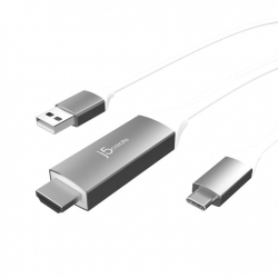 J5create JCC154G USB-C to 4K HDMI Cable With USB Type-A 5V Pass-Through (Male USB-A enable you to connect to a USB charger to charge your device)
