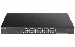 D-Link 28-Port Gigabit Smart Managed PoE Switch with 24 RJ45 and 4 SFP+ 10G Ports (DGS-1250-28XMP)