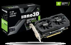 NVIDIA INNO3D GEFORCE GTX 1050 TI TWIN X2 (1290Mhz / 7Gbps) / 4GB GDDR5 / 128-bit / DP+HDMI+DVI N105K-2DDV-M5CM