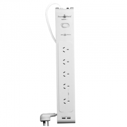 Powershield PSZ5USB ZapGuard 5 Way Power Surge Filter Board - Five Power outlets + 2 x USB Charging Current 3.1 Amps