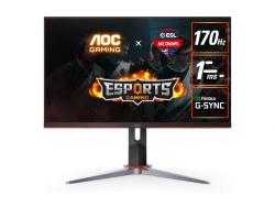 AOC 27IN IPS QHD ADAPTIVE SYNC 1MS 170HZ HDR 400 2H1DP BOARDERLESS HEIGHT ADJUSTABLE STAND VESA 100X100MM Q27G2S/D