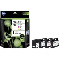HP 933XL High Yield CMY(3)/932XL High Yield Black 4-Pack Original Ink Crtg Combo T0A80AA