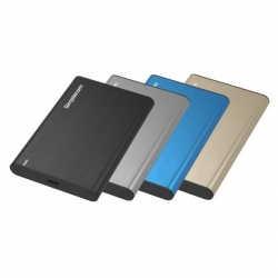 "Simplecom SE221-Black 2.5"" SATA Enclosure, USB 3.1 Type-C (USB-C), Aluminium - Black"