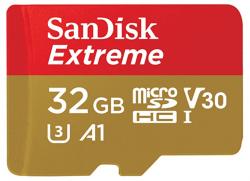 SanDisk Extreme microSDHC, SQXAF 32GB, V30, U3, C10, A1, UHS-1, 100MB/s R, 60MB/s W, 4x6, SD adaptor, SDSQXAF-032G-GN6AA