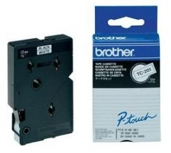 Brother P-Touch TC Laminated Tape 12mm x 7.5m Black on White (UB0621100)