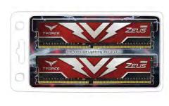 Team T-FORCE Zeus Series 64GB(2x32GB) DIMM DDR4 3000MHz 1.35V, Red Heat spreader TTZD464G3000HC16CDC01