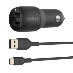 Belkin BOOST CHARGE DUAL USB-A CAR CHARGER 24W + USB-A TO USB-C CABLE CCE001BT1MBK