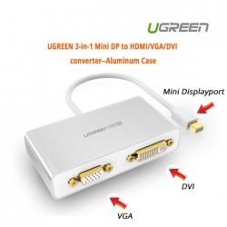 Ugreen 3-in-1 Mini Displayport To Hdmi&vga&dvi Converter--white Acbugn10438