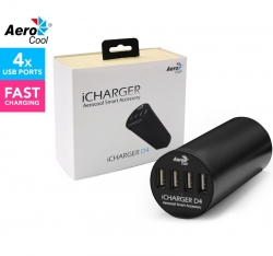 Aerocool iCharger D4 4-Port Smart Office USB 2.4A Fast Charger, 6A 30W, Fits Grommet, Clears Cable Clutter