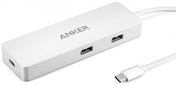 Anker Premium Usb-c Hub Power Delivery Port With Gigabit Ethernet Silver A8302h41